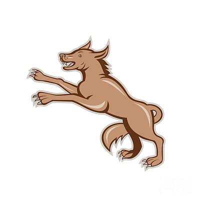 Wolf Wild Dog On Hind Legs Cartoon Print by Aloysius Patrimonio