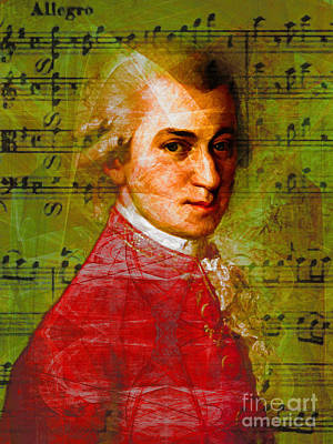 Wolfgang Amadeus Mozart 20140121v1 Print by Wingsdomain Art and Photography