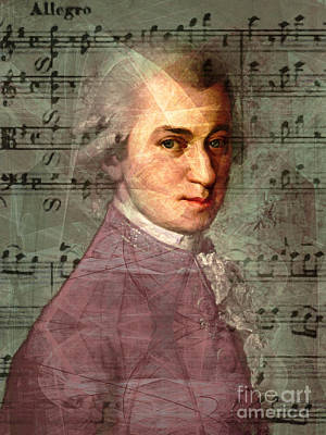 Wolfgang Amadeus Mozart 20140121v2 Print by Wingsdomain Art and Photography