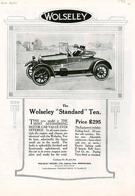 Wolseley 1923 1920s Usa Cc Cars Print by The Advertising Archives