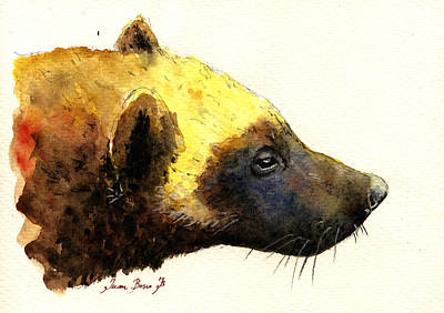 Watercolor Painting - Wolverine by Juan  Bosco