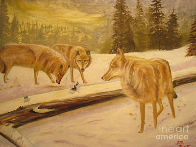 Winter Painting - Wolves In Snow Original Oil Painting  by Anthony Morretta