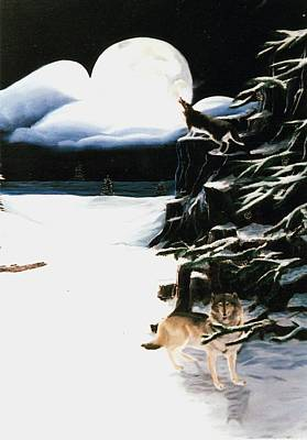 Wolves In The Snow Print by Susan Roberts