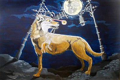 Menace Painting - Wolves Mouth  by Lazaro Hurtado