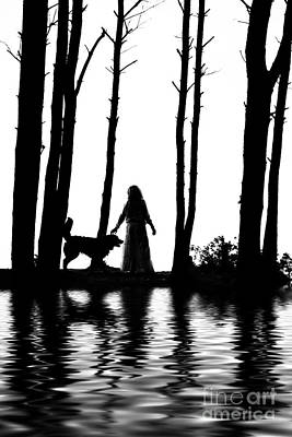 Bernese Mountain Dog Photograph - Woman And Dog Silhouettes Water Reflections by Aleksey Tugolukov