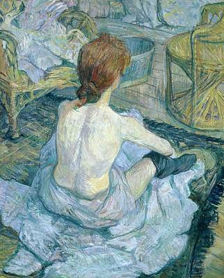 Auburn Painting - Woman At Her Toilet, 1896  by Henri de Toulouse-Lautrec