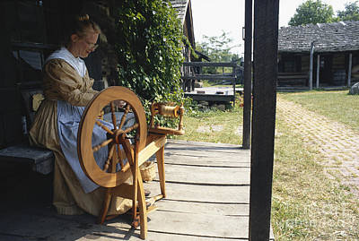 Woman At Spinning Wheel, Fort New Print by Van D. Bucher