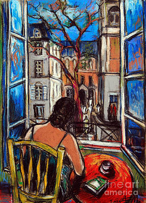 Glass Table Reflection Painting - Woman At Window by Mona Edulesco