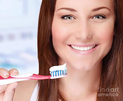 Woman Brushing Her Teeth Print by Anna Omelchenko