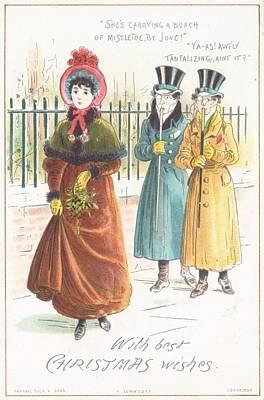 Woman Carrying Bunch Of Mistletoe Print by English School