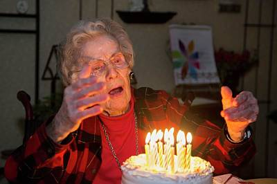 Woman Celebrating Her 99th Birthday Print by Jim West