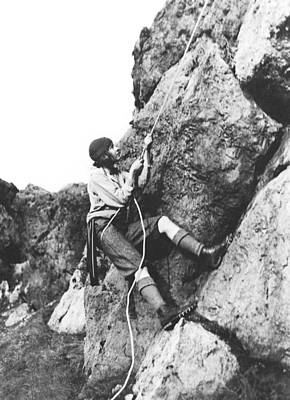 Woman Climbing In Zion Print by Underwood Archives