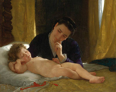 William-adolphe Bouguereau Painting - Woman Contemplating Her Infant Son by William-Adolphe Bouguereau