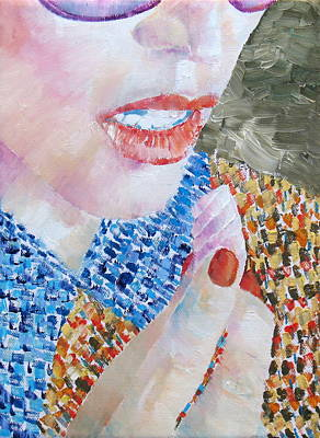 Candy Painting - Woman Eating Marshmallow- Oil Portrait by Fabrizio Cassetta