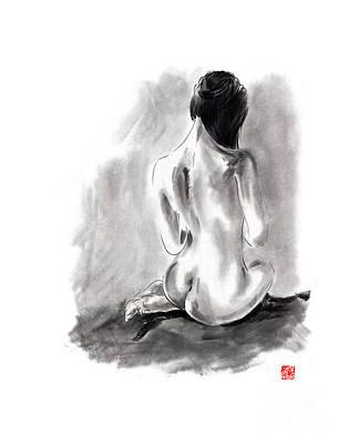 Woman Geisha Erotic Act Beautiful Girl  Japanese Ink Painti Print by Mariusz Szmerdt