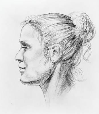 Woman Head Drawing - Woman Head Study by Irina Sztukowski
