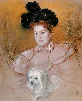Impressionism Painting - Woman Holding A Dog by Celestial Images