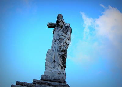 Metairie Cemetery Photograph - Woman Holding Cross by Beth Vincent