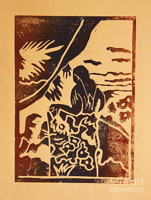 Lino-cut Painting - Woman II A La Gauguin by Christiane Schulze Art And Photography