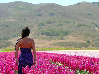 Girl With A Pink Dress Photograph - Woman In A Field Of Flowers by Jeff Lowe