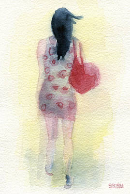 Woman In A Polka Dot Dress Print by Beverly Brown Prints