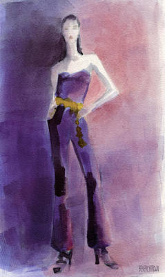 Couture Painting - Woman In A Purple Jumpsuit Fashion Illustration Art Print by Beverly Brown Prints