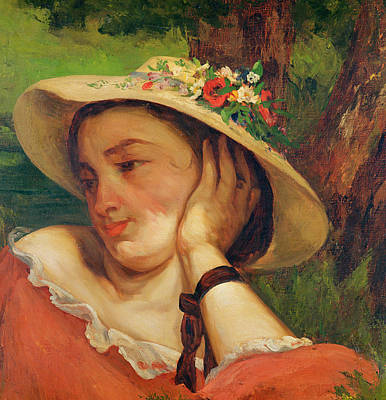 Summer Picnic Painting - Woman In A Straw Hat With Flowers by Gustave Courbet