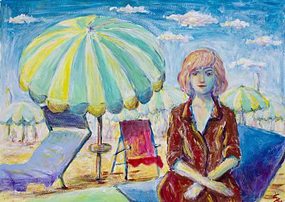 Woman In Beach Print by Erki Schotter