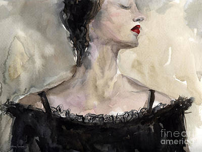 Mystery Drawing - Woman In Black Watercolor Portrait by Svetlana Novikova