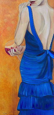 Gown Mixed Media - Woman In Blue by Debi Starr