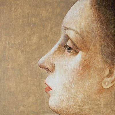 Earth Tones Painting - Woman In Profile 7 by Ilir Pojani
