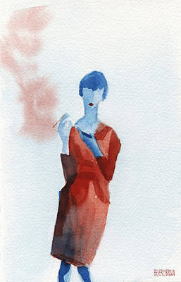 Woman In Red Dress With Cigarette And Mobile Device Print by Beverly Brown Prints