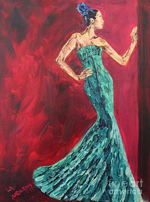Woman In The Green Gown Print by Lee Ann Newsom