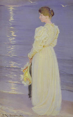 Woman In White On A Beach, 1893 Print by Peder Severin Kroyer
