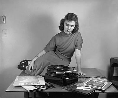 1950s Music Photograph - Woman Listening To Records by Marguerite Baker Johnson