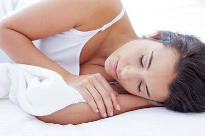 Woman Lying In Bed Asleep Print by Ian Hooton