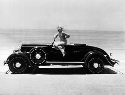 Blonde Hair Photograph - Woman On A Hupmobile by Underwood Archives