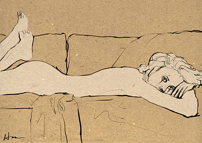 Bohemian Drawing - Woman On Couch by H James Hoff