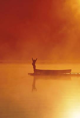 Woman On Dock Robe Lake  Sunrise Sc Ak Print by Michael DeYoung