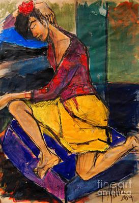 Woman On Purple Pillow - Pia #3 - Figure Series Print by Mona Edulesco