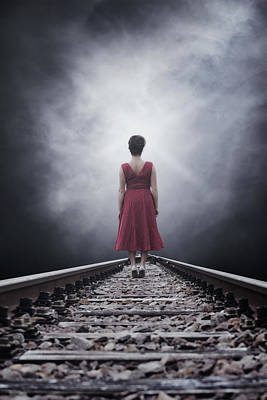 Woman On Tracks Print by Joana Kruse