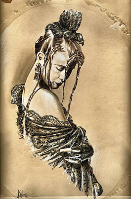 Sepia Ink Drawing - Woman Portrait - After The Party by Daliana Pacuraru