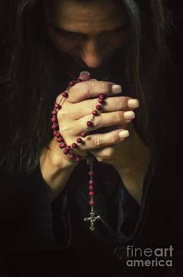 Woman Praying Print by Carlos Caetano