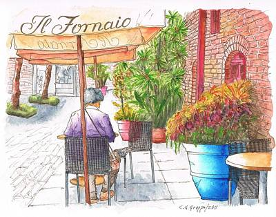 Meal Painting - Woman Reading A Newspaper In Il Fornaio In Pasadena, California by Carlos G Groppa