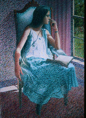 Woman Reading Print by Herschel Pollard