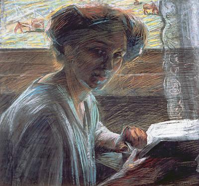 Bookworm Painting - Woman Reading by Umberto Boccioni