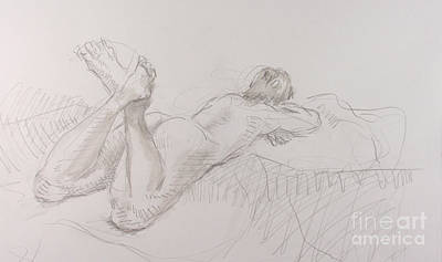 Woman Reclining With Crossed Feet Print by Andy Gordon