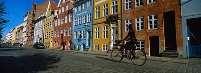 Clear Sky Photograph - Woman Riding A Bicycle, Copenhagen by Panoramic Images