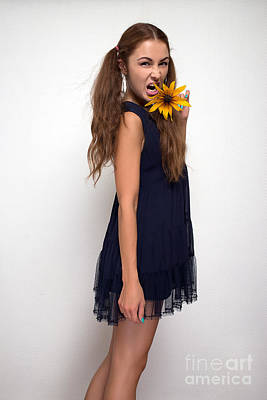 Flower Express Photograph - Woman Screaming With Yellow Flower by Aleksey Tugolukov