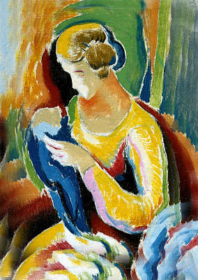 Woman Seated Holding A Baby Print by Thomas Benton